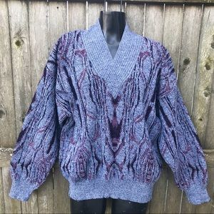 Vintage 1980s Sweater Abstract Design Wool Blend M